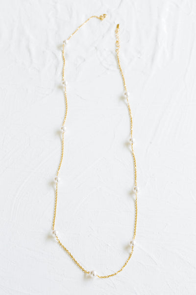 925 Sterling Silver Bridesmaid Gift Link Chain Pearl Pendant Necklace