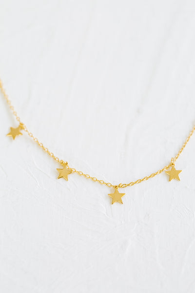 925 Sterling Silver Bridesmaid Gift Round Star Pendant Chain Necklace
