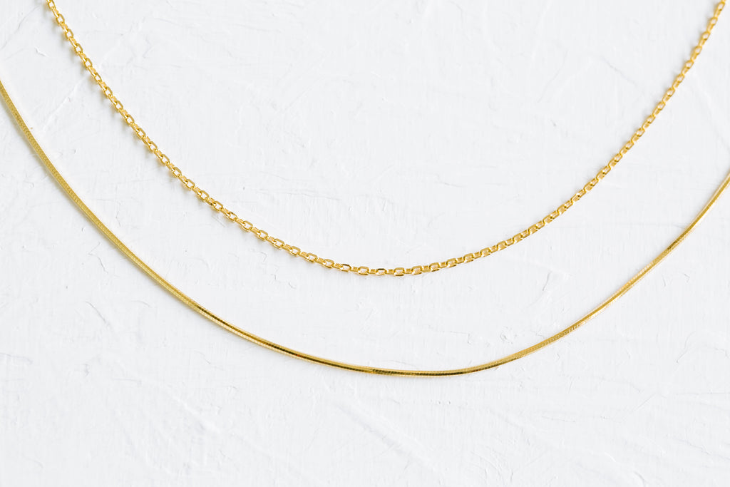 925 Sterling Silver Bridesmaid Gift Link  Two Thin Chain Necklace