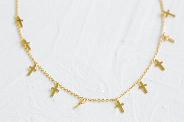 925 Sterling Silver Bridesmaid Gift Link Chain Cross Pendant Necklace