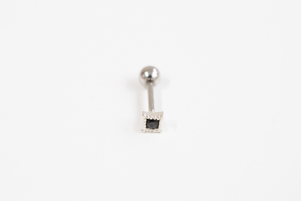 925 Black rectangular cz piercing-e