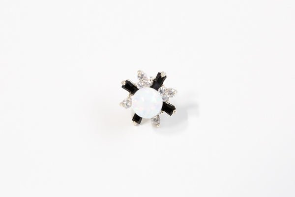 925 Black Opal cz flower piercing-q