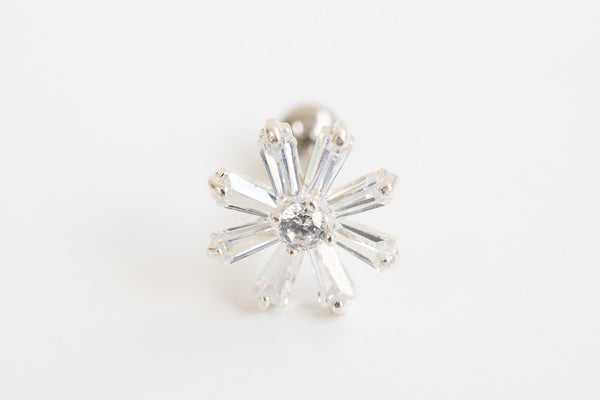 925 cz leaf flower piercing-ar