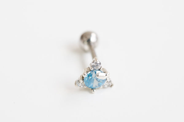 925 cz blue triangle piercing-as