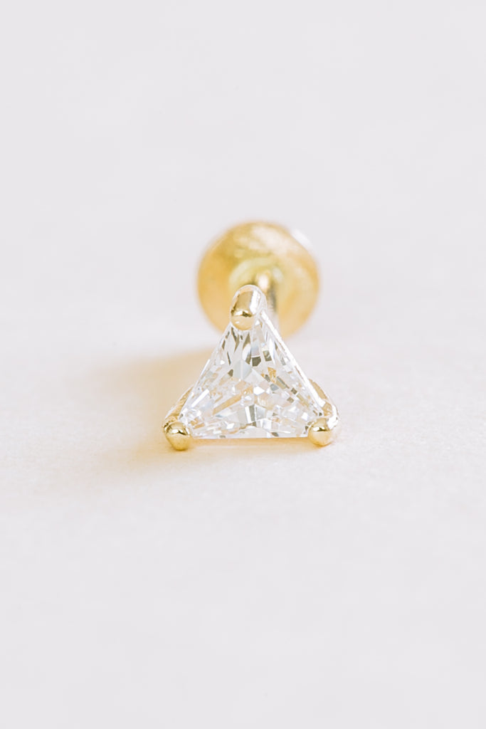 14K Solid Gold Cartilage DelicatevCz Triangle Internally Internal Threaded Earring Labret