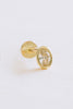 14K Solid Gold Cartilage Oval Round Cz Internally Internal Threaded Earring Labret