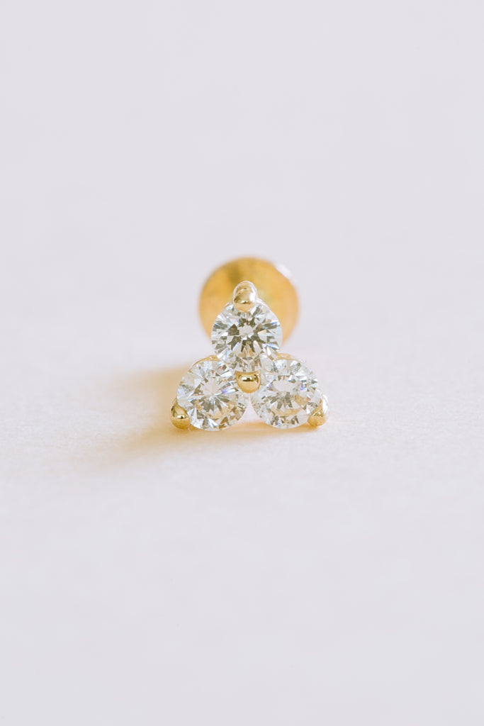 14K Solid Gold Cartilage Cz Flower Triangle Internally Internal Threaded Earring Labret