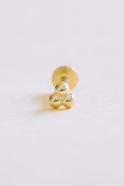 14K Solid Gold Cartilage Minimal Triangle Ball Internally Internal Threaded Earring Labret