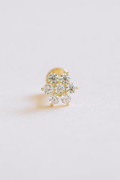 14K Solid Gold Cartilage Delicate Cz Hexagon Flower Internally Internal Threaded Earring Labret
