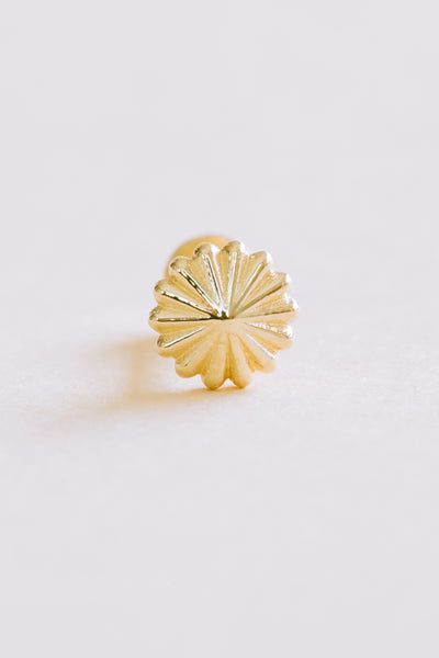 14K Solid Gold Cartilage Delicate Japanese Flower Internally Internal Threaded Earring Labret