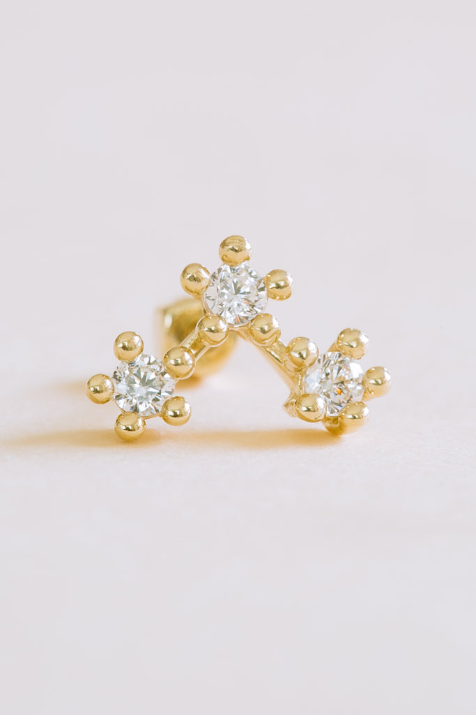14k Real Solid Gold Triforce Triangle Cz Barbell Ear Stud Earring Piercing