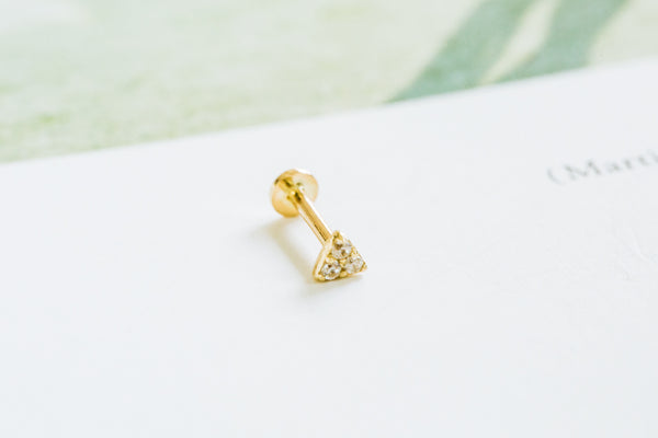 14k Gold Cartilage anti Tragus Forward Helix inner conch tongue nose internally Internal threaded ear stud curved triangle earring labret piercing Jewelry