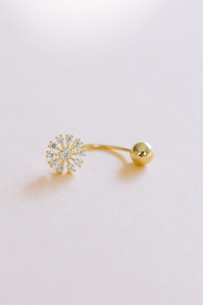 14K Solid Gold Jewelry Delicate Cz Round Flower Rook Banana Ear Earring Piercing