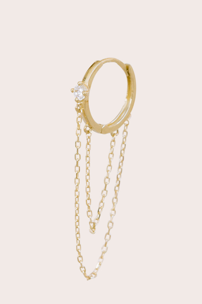 14K Solid Gold Jewelry 2.5mm Cz Long Chain Double Dangle Piercing Earring Hoop Ring