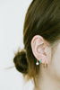 14k Gold Central Cz Curved Barbell Ear Stud Earring Piercing