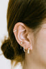 14k Real Solid Gold Dangle Chain Round Cz Barbell Ear Stud Earring Piercing