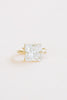 14K Solid Gold Rectangle Square Cz Earring Hoop Ring
