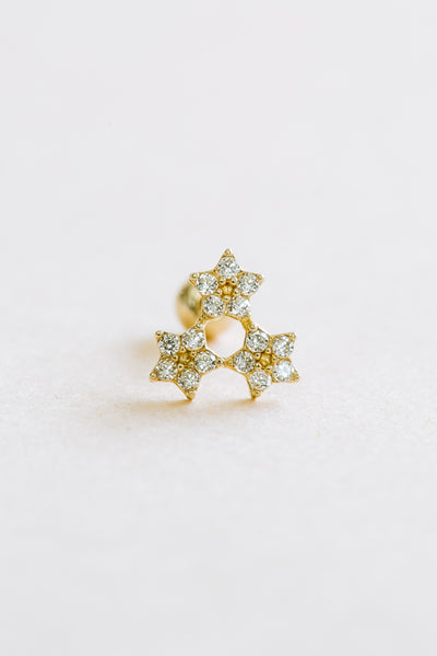 14k Gold Jewelry Cz Triforce Triangle Star Barbell Ear Stud Piercing