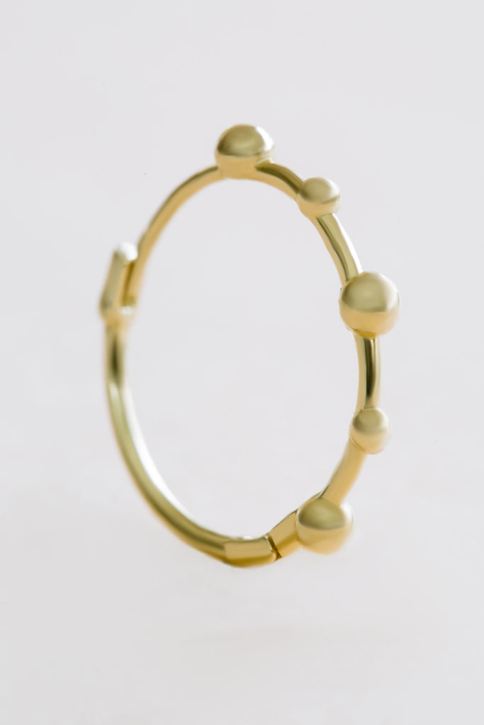 14K Solid Gold Jewelry Comet Beaded Ball Piercing Earring Hoop Ring