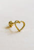 14k Gold Jewelry Dot Open Heart Barbell Ear Stud Piercing