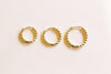 14K Solid Gold Slim Beaded Round Piercing Earring Ear Hoop Ring