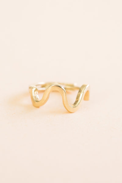 14K Solid Gold Snake Wave Earring Hoop Ring