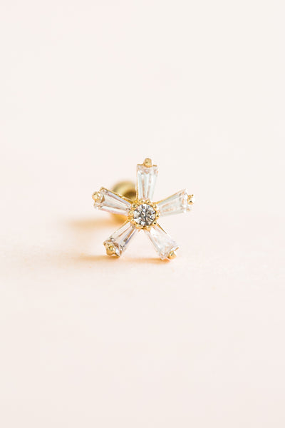 14k Gold Jewelry Cz Cute Snowflake Barbell Ear Stud Piercing