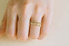 Simulated Diamond Cz Delicate Triangle Lines Round Adjustable Ring
