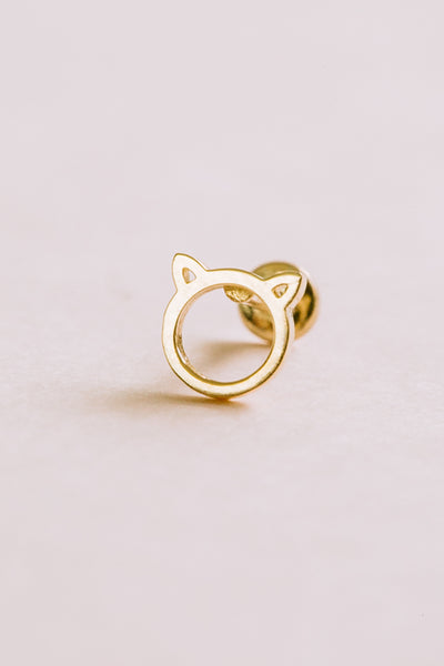14k Gold Cartilage Kitty Ear Cat Internally Internal Threaded Labret