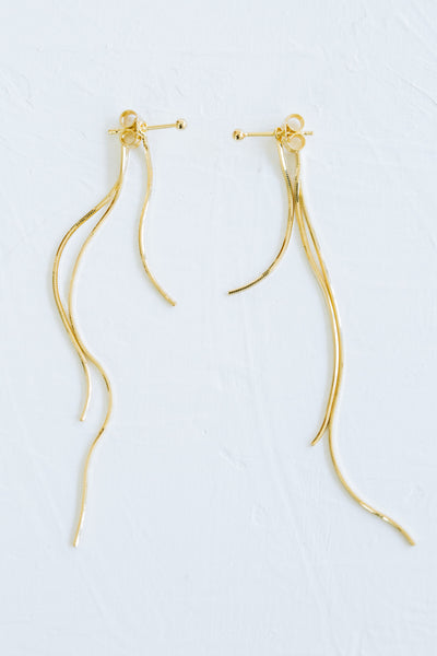 925 Sterling Silver Ear Studs Dangling Thin Long Snake Chain Ropes Earrings