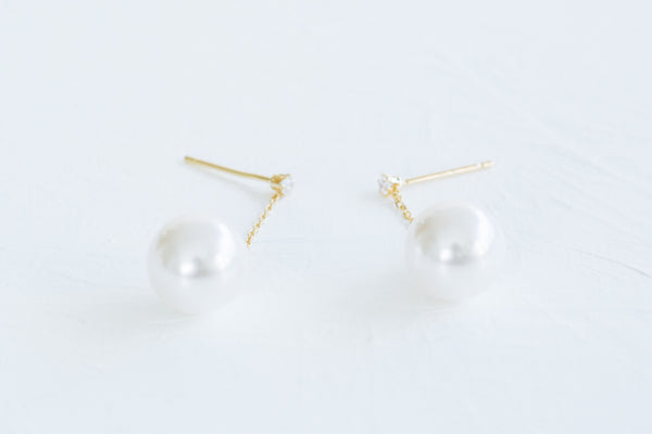 925 Sterling Silver Ear Studs Cubic Dangling  Large Simulated Pearl Earrings