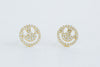 925 Sterling Silver Ear Studs Cz Smile Face Pendant Earrings