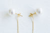 925 Sterling Silver Simulated Pearl Dangling Snake Chain Ball Ear Studs Post Earrings