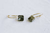 925 Sterling Silver Ear Studs Black White Square Cz Pendant Wire Hoop Earrings