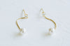 925 Sterling Silver Cz Snake Chain Dangling Simulated Pearl Ball Ear Studs Post Earrings