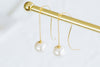 925 Sterling Silver Ear Studs Curved Long Wire Pin Dangling Simulated Pearl Cahin Earrings
