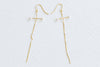 925 Sterling Silver Simulated Pearl Cross Snake Chain Ear Studs Post Earrings
