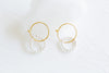 925 Sterling Silver Ear Studs White Simulated Pearl Ball Pendant Hoop Earrings