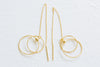 925 Sterling Silver Dangling Round Pendant Ear Studs Post Earrings