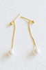 925 Sterling Silver Ear Studs Ball Dangling Sanke Chain Simulated Pearl Earrings