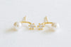 925 Sterling Silver Cz and Simulated Pearl Ball Ear Studs Post Earrings