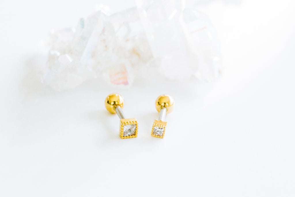 14K Gold Plated Stimulated Cubic Square  Ear Barbell Ball Stud Earring Piercing