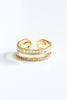 Cz Two Lines Open Round Adjustable Ring For Women Teens Girls