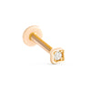 14k Gold Cartilage Square Cubic Internally Internal Threaded Labret