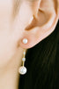 925 Sterling Silver Cz Simulated Pearl Ball Dangling Lope Chain Ear Studs Post Earrings