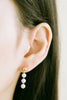 925 Sterling Silver Dangling Round Simulated Pearl Ball Ear Studs Post Earrings