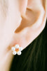 925 Sterling Silver Simulated Pearl Daisy Flower Shape Ear Studs Post Earrings