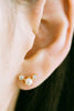 925 Sterling Silver Simulated Pearl Cz Snowflake Ear Studs Post Earrings