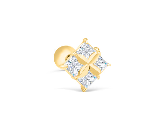 14K Real Solid Yellow Gold Simulated Square Diamond Cz Lucky Tree 4 Four Leaf Clover Flower Barbell Ball Ear Stud Post Earring Piercing For Women Girls