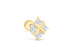 14k Gold Cubic Square Pendant Barbell Ear Stud Piercing